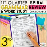 3rd Grade Language Spiral Review | 3rd Grade Grammar Practice | 1st Quarter