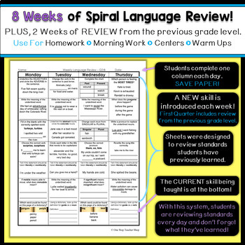 3rd Grade Language Spiral Review | Grammar Review | 1st Quarter