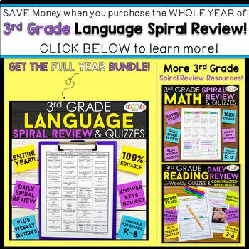 3rd Grade Language Spiral Review   2 Weeks FREE