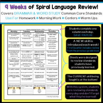 3rd Grade Language Spiral Review | 3rd Grade Grammar Practice | 2nd Quarter