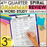3rd Grade Language Spiral Review | Homework, Morning Work, Grammar Practice