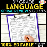 3rd Grade Language Spiral Review | Grammar Morning Work or Homework ENTIRE YEAR