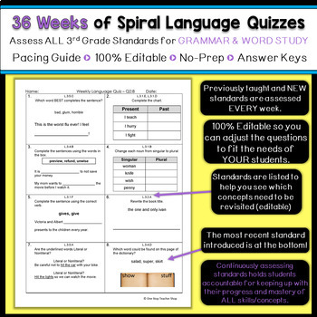 3rd Grade Language Spiral Review & Quizzes | 3rd Grade Grammar | ENTIRE YEAR