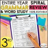 3rd Grade Language Spiral Review & Quizzes | Grammar Homework or Morning Work