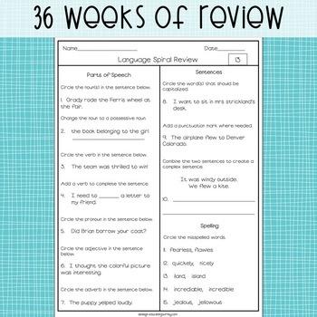 3rd Grade Spiral Language Review Grammar Practice By