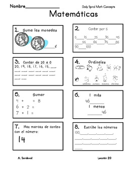 Spiral Math Review-Spanish