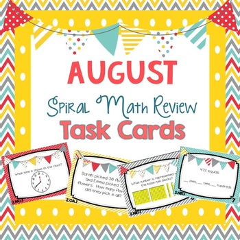 Spiral Math Review Task Cards-August