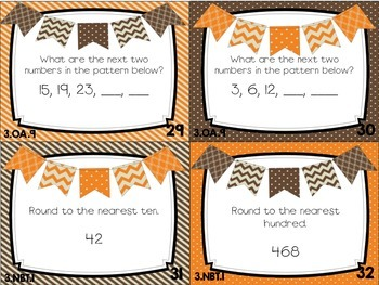 Spiral Math Review Task Cards-November