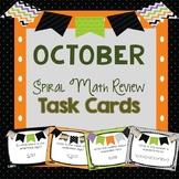 Spiral Math Review Task Cards-October