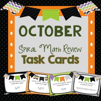 Spiral Math Review Task Cards-October