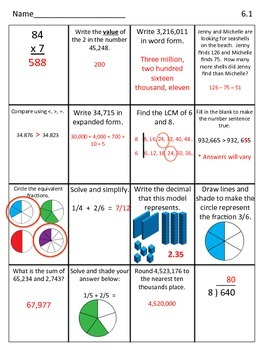 Spiral Math Review for February- Fourth Grade Edition