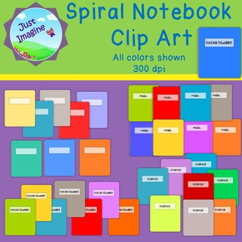 Spiral Notebook Clip Art - 32 pieces - Math, Science, SS and Blank