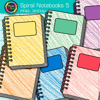 Spiral Notebook Clip Art {Back to School Supplies Graphics for Journals} 5