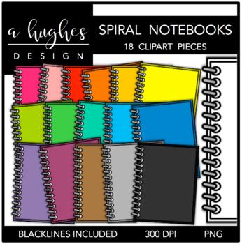 Spiral Notebooks Clipart {A Hughes Design}