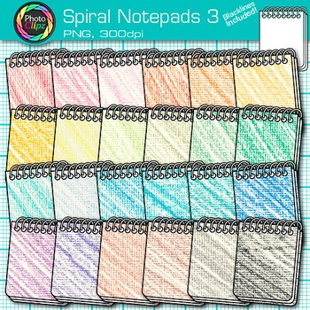 Rainbow Spiral Notepad Clip Art {Back to School Supplies for Writing Resource} 3