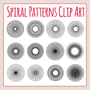 Spiral Patterns Similar to Spirograph Clip Art Set for Commercial Use