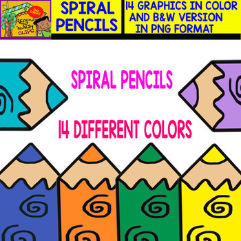 Spiral Pencil - Cliparts Set - 14 Items