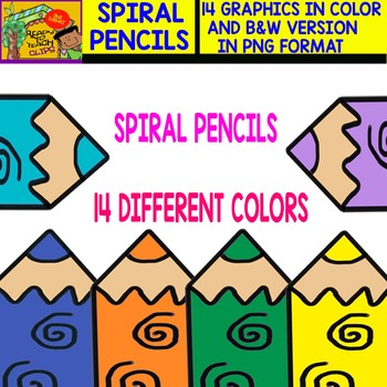 Spiral Pencil - Cliparts in 14 Different Colors