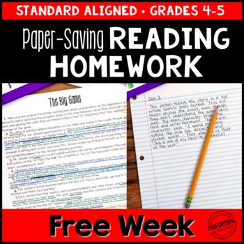 Spiral Reading Homework for 4th & 5th PAPER-SAVING FREEBIE
