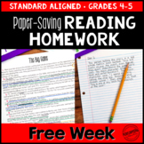 Spiral Reading Homework for 4th & 5th PAPER-SAVING FREEBIE