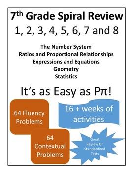 Math Spiral Review - 7th Grade Packets 1-8