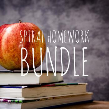 Spiral Review Homework Set 1, 2, 3, 4  COMPLETE BUNDLE