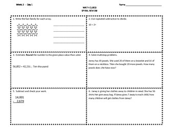 Spiral Review Math Cube My Math Morning Work