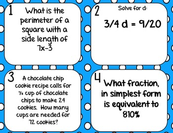 Spiral Review Math Test Prep WORD PROBLEM Task Cards *SET 2* for 6th Grade