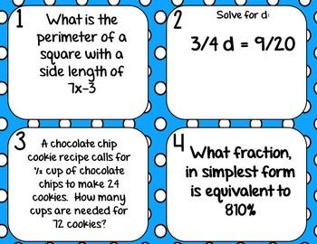 Spiral Review Math Test Prep WORD PROBLEM Task Cards *SET 2* for 6th Grade