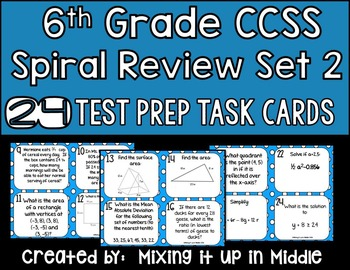 Spiral Review Math Test Prep WORD PROBLEM Task Cards *SET