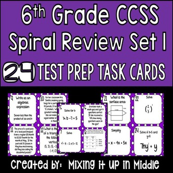 Spiral Review Math Test Prep WORD PROBLEM Task Cards for 6th Grade