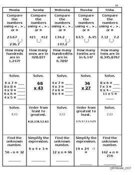 Spiral Review Sheets