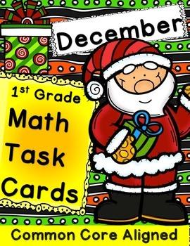 Math Task Cards December 1st Grade Math