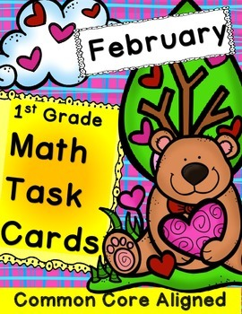 Math Task Cards for February 1st Grade Math
