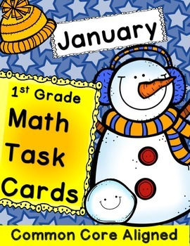 Math Task Cards for January 1st Grade Math