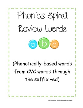 Phonics Spiral Review Words (through -ed)