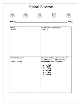 Editable Spiral Review Template/Order of Operations Review