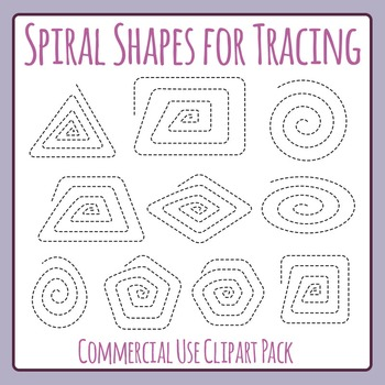 Spiral Shapes for Fine Motor Control Tracing or Cutting Clip Art Commercial Use