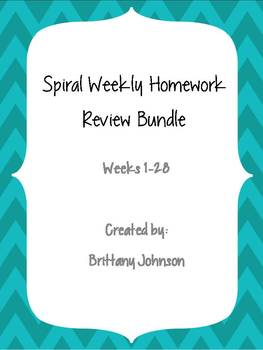 Spiral Weekly Homework Review Bundle (28 Weeks!!)