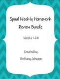 Spiral Weekly Homework Review Bundle (28 Weeks!!)