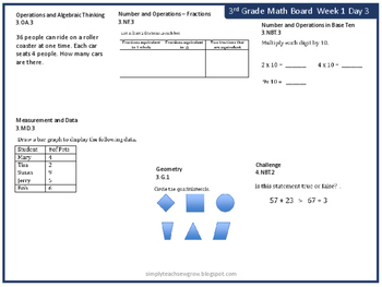 Spiraled Math Concept Boards 3rd Grade (Common Core Aligned) Weeks 1-8