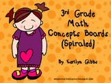Spiraled Math Concept Boards 3rd Grade (Common Core Aligne