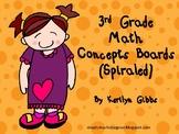 Spiraled Math Concept Boards 3rd Grade (Common Core Aligne