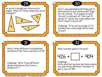 """Spiraled Math  """"Foundation Station""""  Task Cards Grade 4 Set 2"""