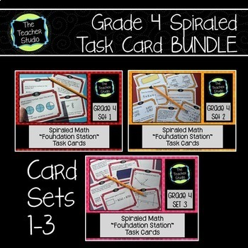 Spiraled Math Test Prep Task Cards Grade 4 Sets 1-3 BUNDLE