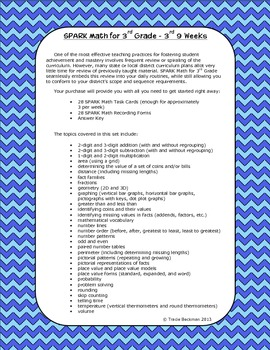 Spiraled STAAR/Common Core Math Review for 3rd Grade - 3rd 9 Weeks