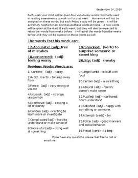Spiraled Vocabulary for 3rd ELA - Week 5