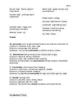 Spiraled Vocabulary for 3rd ELA - Week 8