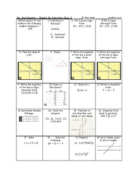 Spiraled weekly quizzes Algebra - 2nd quarter