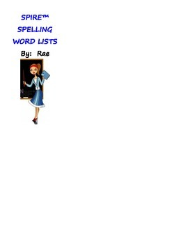 Spire Spelling & Reading Word Lists